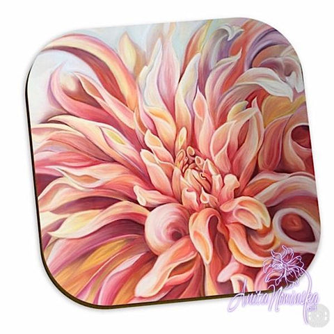 peach dahlia floral coasters for home accessories