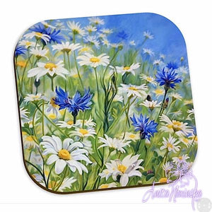 floral coaster cornflower & daisy meadow, blue, white, yellow