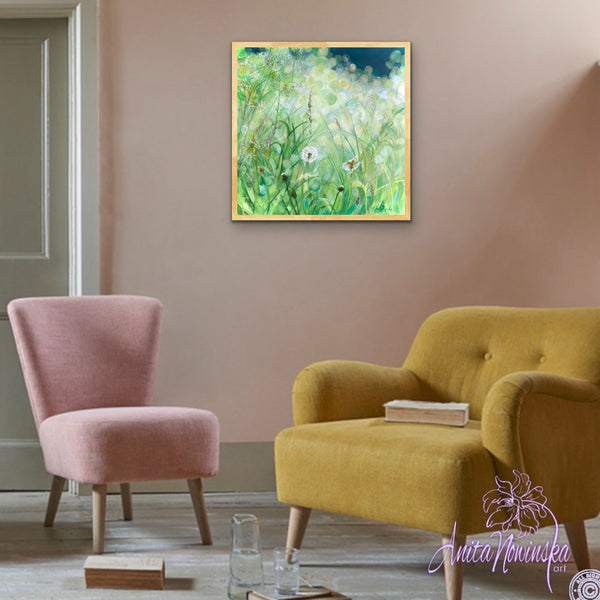 calming small acrylic on canvas painting of green grass meadow in sunlight with dandelion seed heads by Anita Nowinska