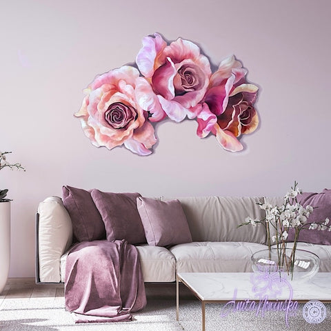 peach & pink rose freeform flower painting wall art
