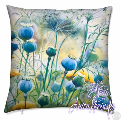 Luxury floral velvet cushion, turquoise poppy pods by Anita Nowinska