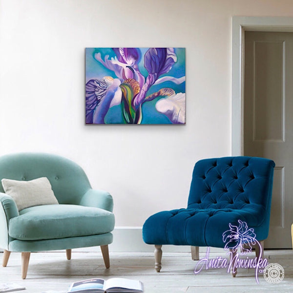 big flower painting of flag iris by Anita Nowinska
