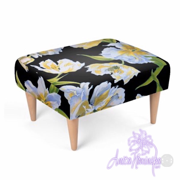 Floral velvet footstool, white & yellow tulips on black by Anita Nowinska