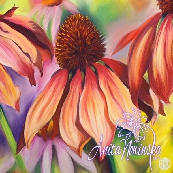 Big bright flower painting of red & pink echinacea by floral artist Anita Nowinska