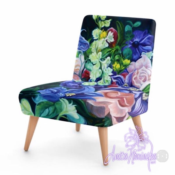 Small floral velvet chair, teal, pink & purple flowers by Anita Nowinska