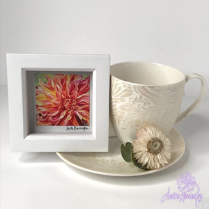 Gorgeous miniature floral print from Anita Nowinska flower painting, framed in white, making a perfect little gift of colour for your interior. Labyrinth dahlia
