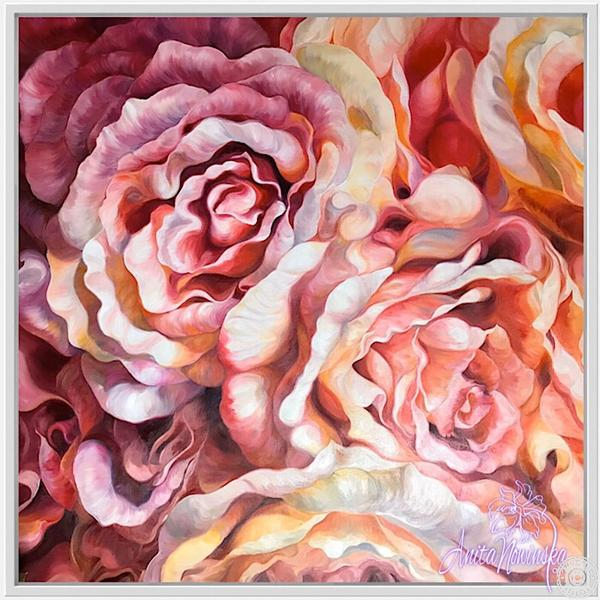 Fine art canvas print of pink & peach rose flower painting by Anita Nowinska