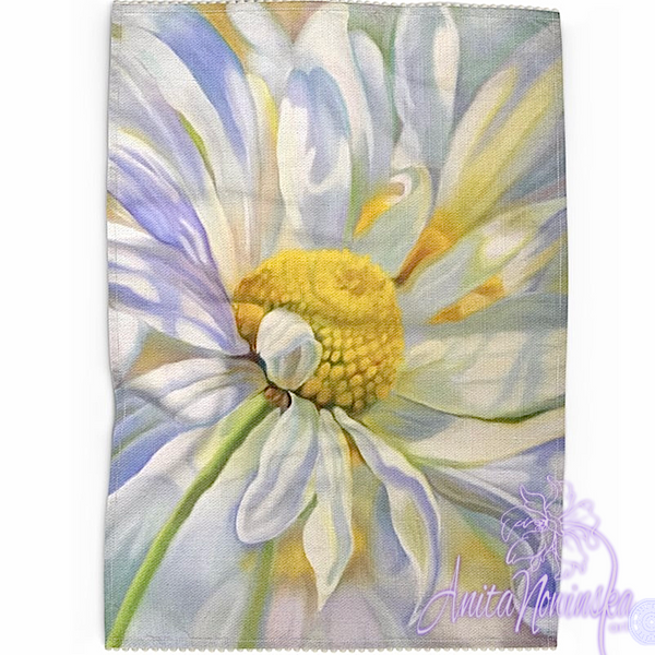 Floral art linen tea towel, floral home accessories-daisy