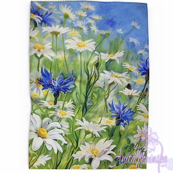 Floral art linen tea towel, floral home accessories- daisy meadow