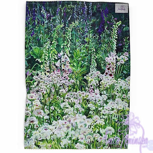 Floral art linen tea towel, floral home accessories- foxgloves