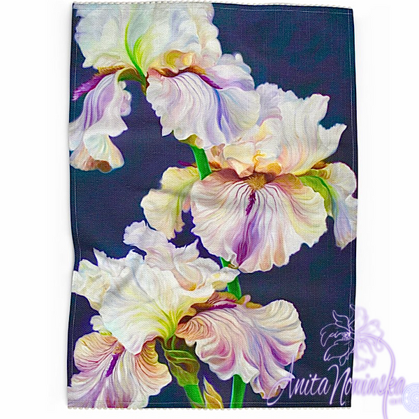 Floral art linen tea towel, floral home accessories-irises