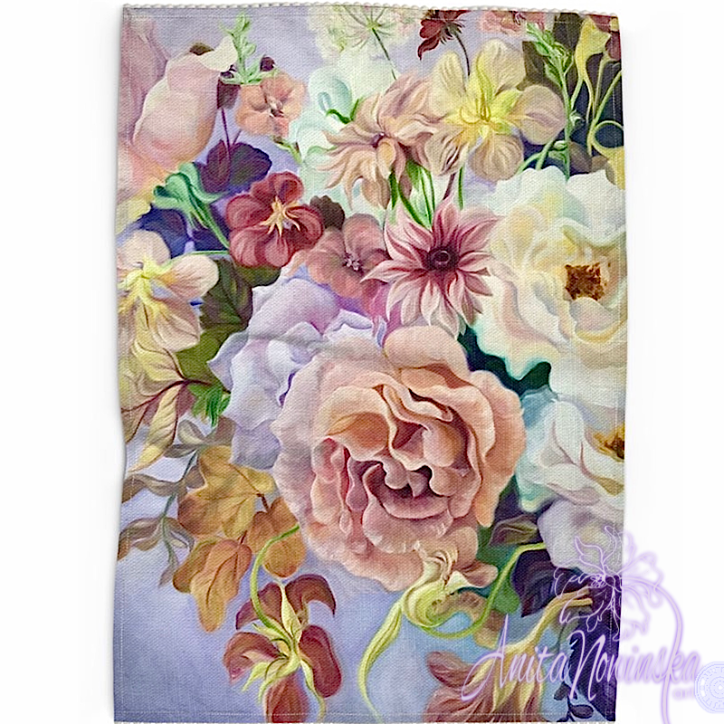 Floral art linen tea towel, floral home accessories-lilac & peach