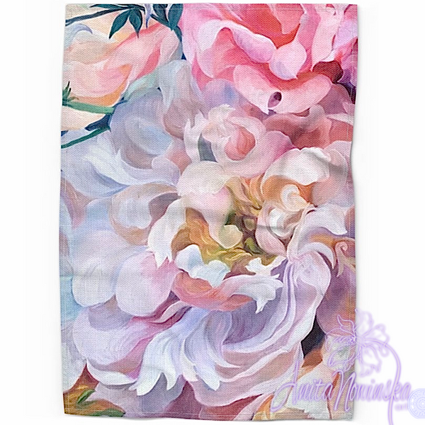 Floral art linen tea towel, floral home accessories- pink peony