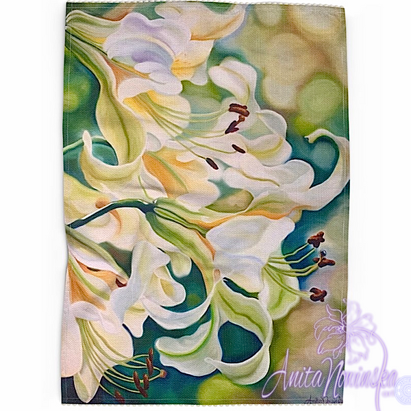 Floral art linen tea towel, floral home accessories-white lilies green