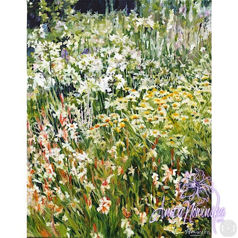 white & yellow flower border in garden, oil on canvas  painting by Anita Nowinska