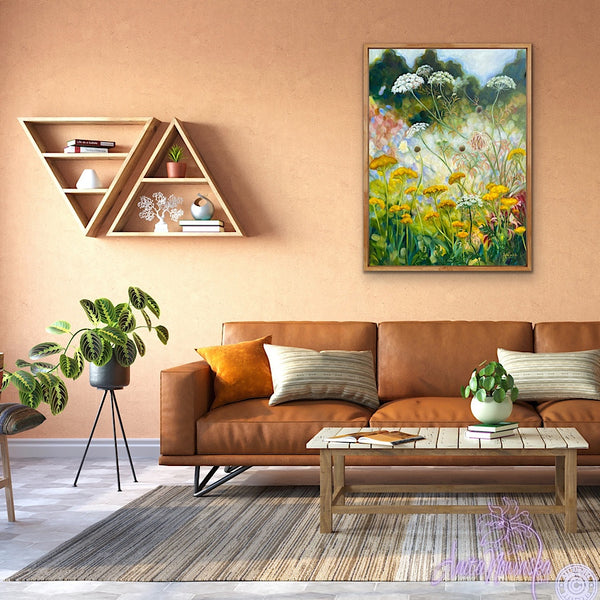 wild garden painting by anita nowinska in a room with terractota walls & leather sofa- yellow, gold, white, green