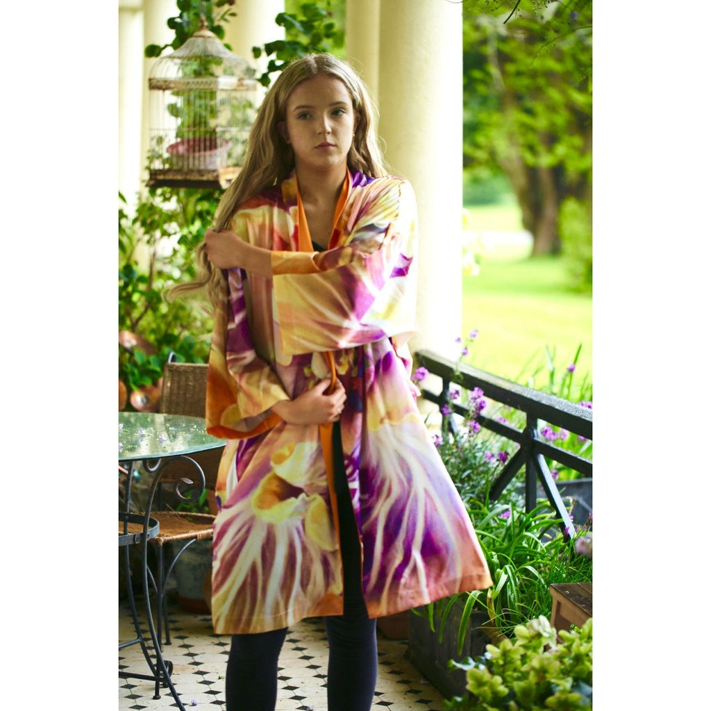 Hibiscus Kimono-wearable art- fashion clothing-flower paintings-anita nowinska