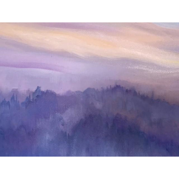unveiling, misty sunset in purples over surrey hills-oil on canvas anita nowinska