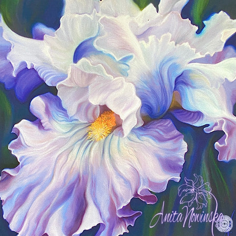Romance ii- Pale Blue Iris Flower Painting