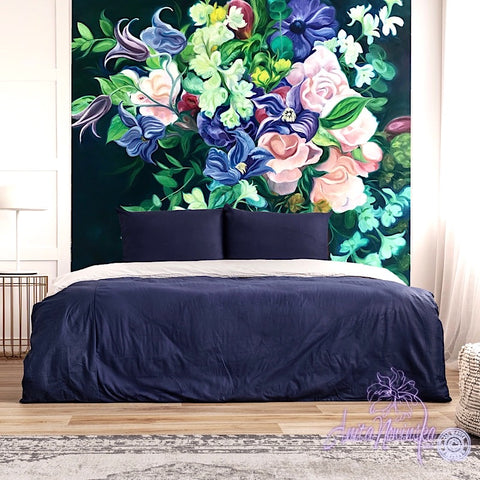 Dark Bouquet- Floral wallpaper mural