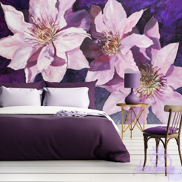 Purple Clematis- Floral wallpaper Mural