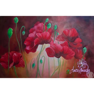 Incalescent- big red poppy flower painting by Anita Nowinska