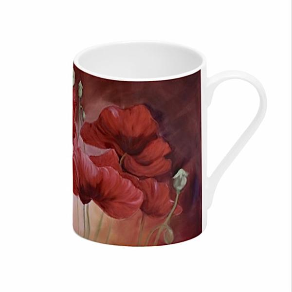 Incalescence- big red poppy flower painting mug by Anita Nowinska