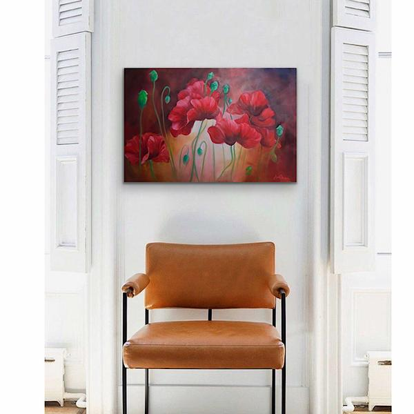 Incalescence- big red poppy flower painting by Anita Nowinska