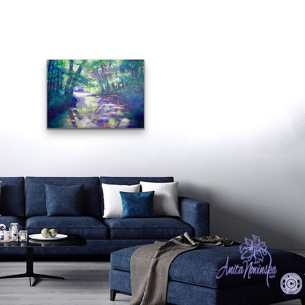 Living room decor with painting of river through trees. oil on canvas by anita Nowinska