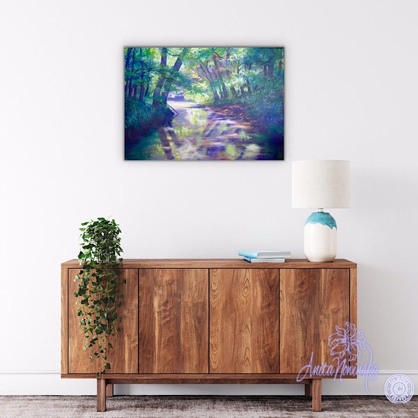 hallway decor, oil on canvas painting of relaxing river through trees