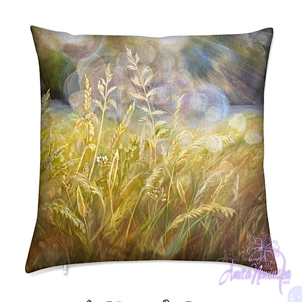 luxury velvet cushion with gold meadow painting by anita nowinska for interior decor accessories