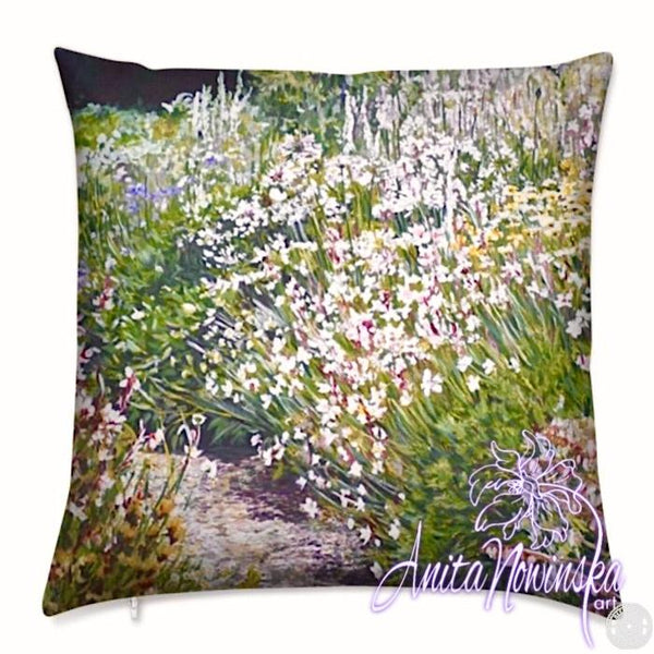 luxury floral velvet cushion with green, white, purple & pink foxgloves flower border