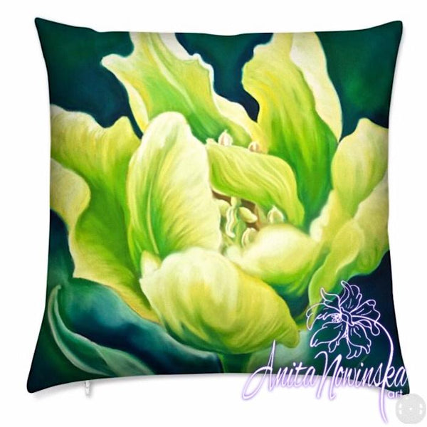 Luxury floral velvet cushion with bright green tulip on dark green from flower paintings