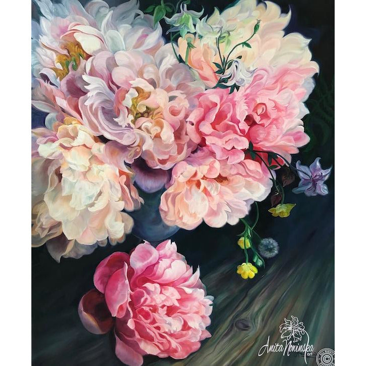 Muliebrity Pink Peony Flower Painting On Dark Backdrop Oil On