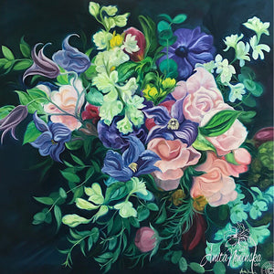 Mystery- Dark Spring Bouquet  flower painting