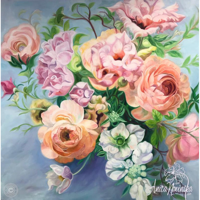 Romantic, relaxing floral painting of a wedding bouquet. Big flower painting in oil on canvas with pink roses, peach rununculus & lisianthus on blue background