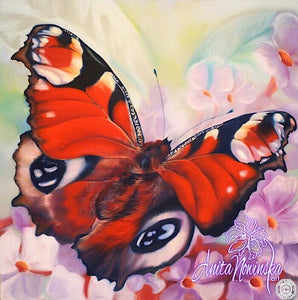 red peacock butterfly painting in pastel by Anita Nowinska