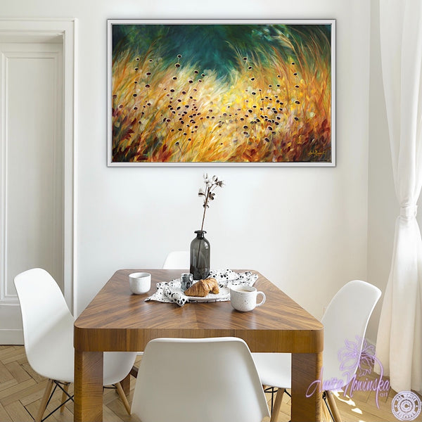 Big canvas painting of golden grasses, seedheads & dappled light with teal background- wall decor art by anita nowinska