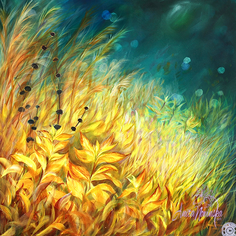 limited edition canvas pront of gold meadow painting on teal by anita nowinska