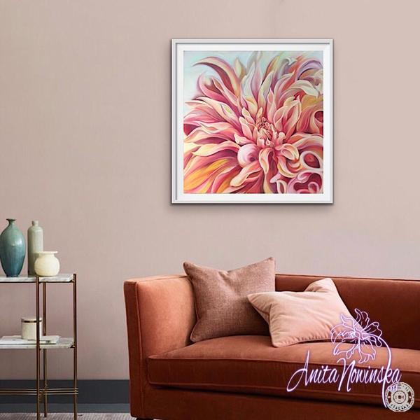 living room decor & Peach labyrinth dahlia flower painting by Anita Nowinska