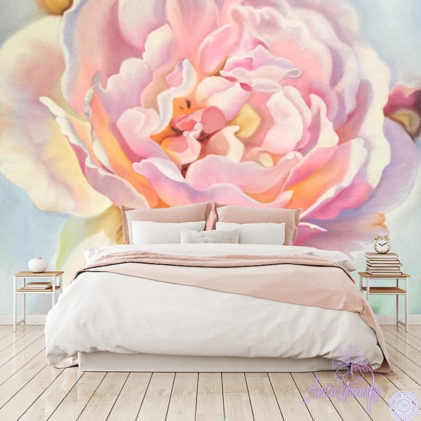 pink aesthetic rose floral wallpaper mural by Anita Nowinska
