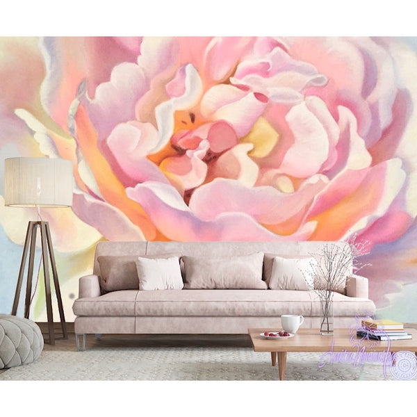pink aesthetic floral rose wallpaper mural