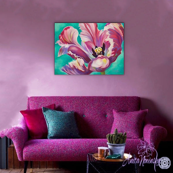 Transition- Pink Tulip on Turquoise painting