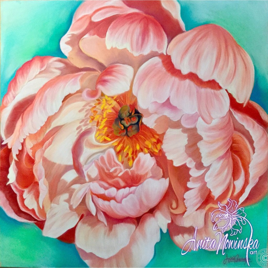 'Prosperity' peach peony on turquoise flower painting by Anita Nowinska