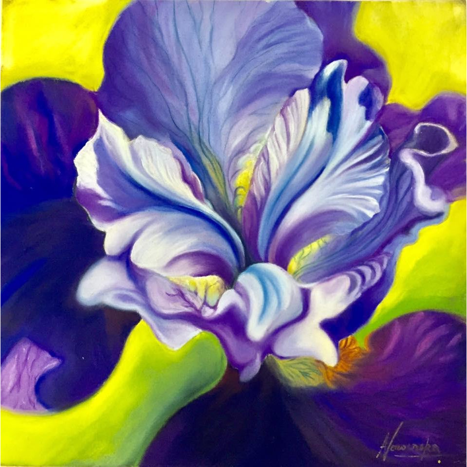 Open Spirit- Purple Iris- Original Flower Paintings
