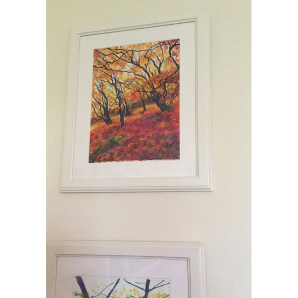 Red Carpets-Maple Trees in Autumn - Original mixed media framed painting