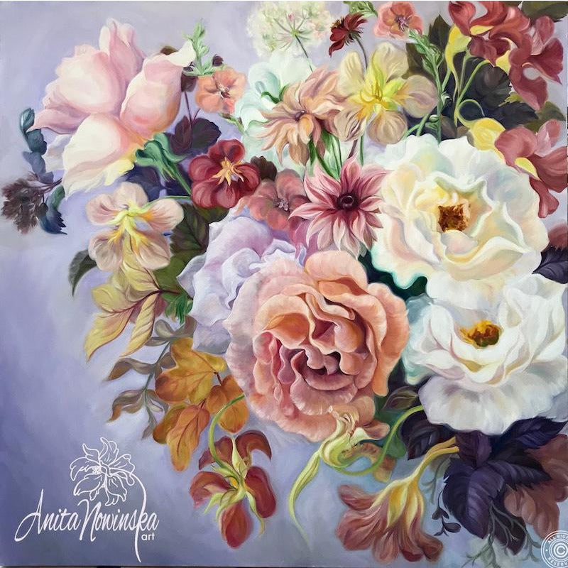 British flowers- still life- wedding bouquet- roses- nasturtiums- flower paintings- lilac, pink, gold- anita nowinska
