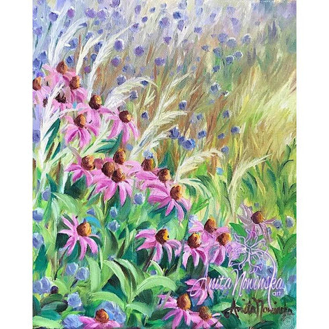 Small oil on canvas flower painting of garden with grasses & echinacea by Anita Nowinska