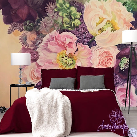 pink, burgundy, lilac flower bouquet designer floral wallpaper mural