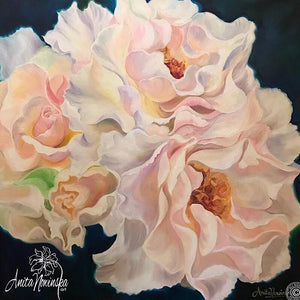 Tenderness- big flower painting of peach roses, oil on canvas by Anita Nowinska